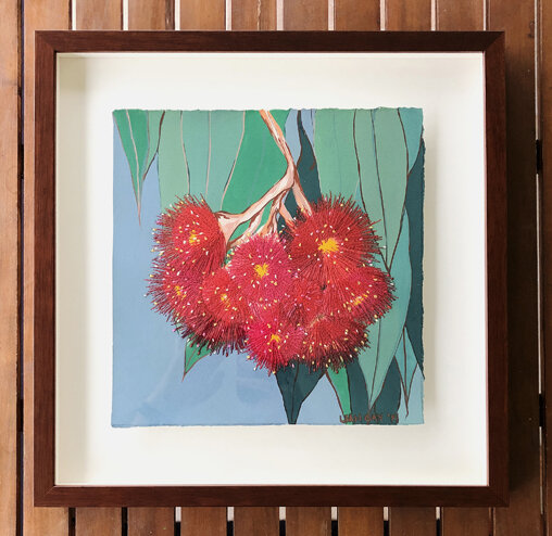 Framed 'Connected' painting of eucalyptus flowers by Leah Gay 2019