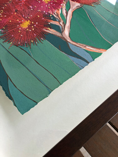 'Connected' painting of eucalyptus flower by Leah Gay 2019 showing edges of artwork